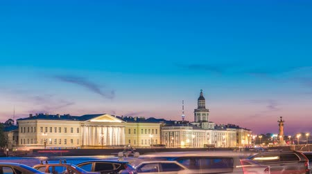 museum : Building of Kunstkamera and the cityscape night timelapse viewed from the Admirality embankment. Stock Footage