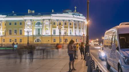 senate and the synod : Building of the Russian constitutional court timelapse near Monument to Peter I, building of library of a name of Boris Yeltsin, night illumination. Russia, Saint-Petersburg Stock Footage