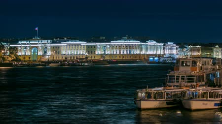 senate and the synod : Building of the Russian constitutional court timelapse, Monument to Peter I, building of library of a name of Boris Yeltsin, night illumination. Russia, Saint-Petersburg