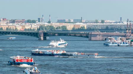 peter and paul fortress : Meteor speedboat on the Neva river timelapse, St. Petersburg, Russia.
