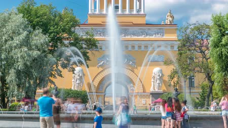 art : The fountain at the main entrance to the Admiralty building timelapse Sunny summer day in St. Petersburg Wideo