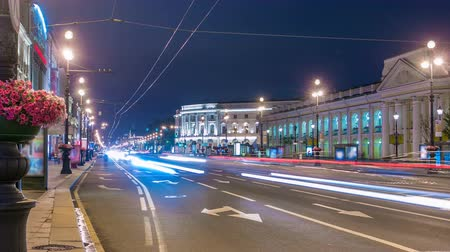 arter : Movement on the night Nevskiy prospekt of Sankt-Peterburg timelapse