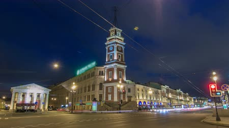 nevsky : Night view to the City Duma tower at Nevsky avenue timelapse hyperlapse. ST. PETERSBURG, RUSSIA