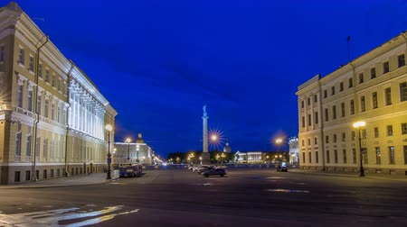 alexander column : Palace Square and Alexander column timelapse hyperlapse in St. Petersburg at night, Russia. Stock Footage