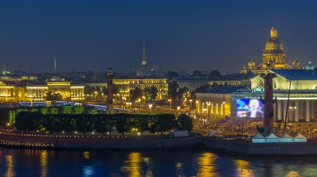 escarlate : Timelapse over the city of St. Petersburg Russia on the feast of Scarlet Sails, view from roof. Stock Footage