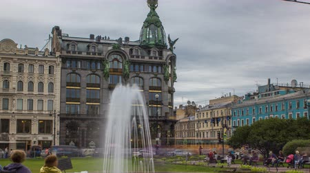 nevsky : Singer House and fountain in front of it near Kazan Cathedral timelapse. St. Petersburg, Russia