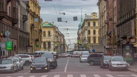 st petersburg : Gorohovaya street traffic timelapse in historic part of city in St.Petersburg, Russia. Stock Footage