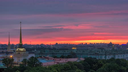st petersburg : Sunrise over historic center from the colonnade of St. Isaacs Cathedral timelapse. Stock Footage