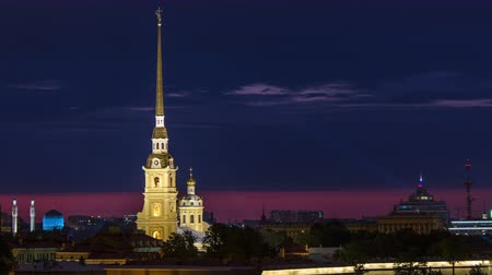 bastião : The Peter and Paul Fortress night timelapse is the original citadel of St. Petersburg, Russia