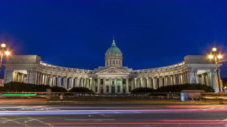 sobor : Kazan Cathedral Kazanskiy Kafedralniy Sobor in St. Petersburg during the White Nights in the summer timelapse Stock Footage