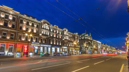 nevsky : Movement on the night Nevskiy prospekt of Sankt-Peterburg timelapse