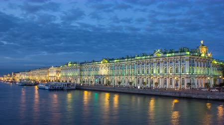 winter palace : The winter Palace day to night timelapse and pier on the Palace embankment in summer in Saint-Petersburg