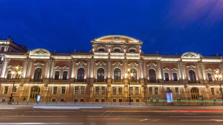 cártula : Beloselsky-Belozersky Palace night timelapse, St. Petersburg, Russia