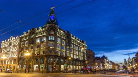 nevsky : Singer House at the Saint Petersburg night timelapse. Stock Footage