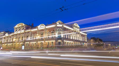 cártula : Beloselsky-Belozersky Palace from Anichkov Bridge night timelapse hyperlapse, St. Petersburg, Russia Vídeos