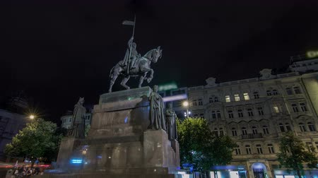namesti : St. Wenceslas statue night timelapse hyperlapse, New town in Prague, Czech republic. Situated on Wenceslas square, national cultural landmark