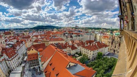 namesti : aerial panoramic view of Old Town Square neighborhood timelapse in Prague from the top of the town hall