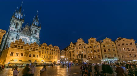 namesti : Night time illuminations of the magical Old Town Square timelapse in Prague