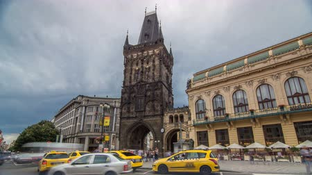 namesti : View of The Powder Tower timelapse hyperlapse and the Municipal House at the Republic Square in Prague. Stock Footage