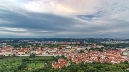 hradcany : Wonderful timelapse View To The City Of Prague From Petrin Observation Tower In Czech Republic