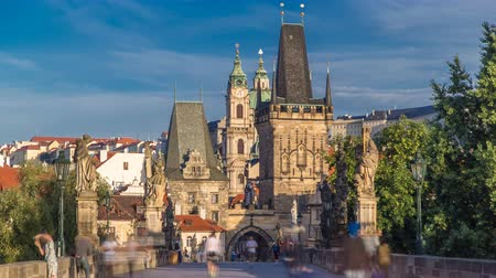 hradcany : A view along Charles Bridge in Prague towards the Lesser Quarter in the morning timelapse.