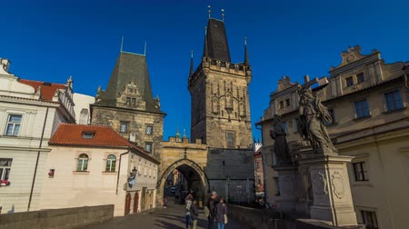hradcany : A view along Charles Bridge in Prague towards the Lesser Quarter in the morning timelapse hyperlapse.