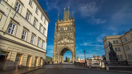 hradcany : Old Town Bridge Tower of the Charles Bridge timelapse hyperlapse - one of the most beautiful Gothic constructions in world.