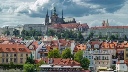 hradcany : Charles Bridge and Prague Castle timelapse, view from embankment, Czech Republic