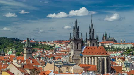 hradcany : View from the height Powder Tower in Prague timelapse. Historical and cultural monument