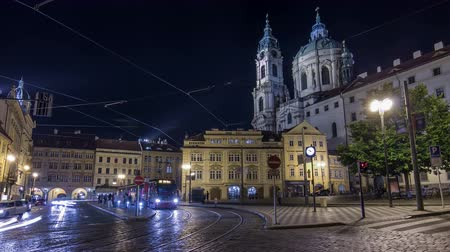 namesti : Night view of the illuminated malostranske namesti square timelapse hyperlapse in prague Stock Footage