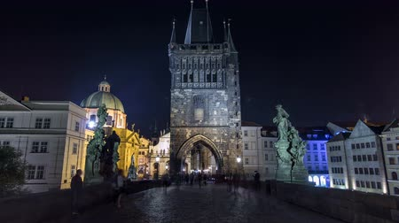 оборонительный : Magnificent Gothic structure called Stare Mesto Tower timelapse hyperlapse on Charles Bridge