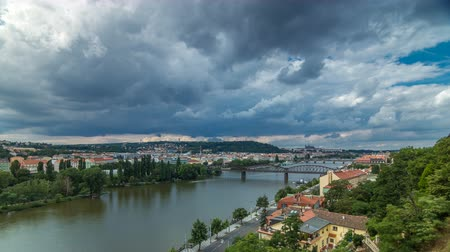 hradcany : View of Prague timelapse from the observation deck of Visegrad. Prague. Czech Republic. Stock Footage
