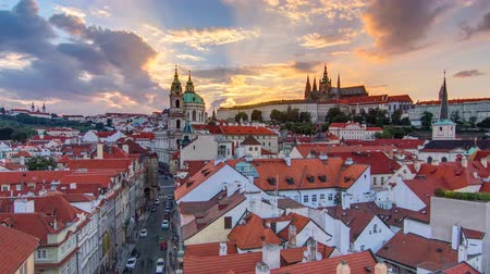 prag : sunset behind St Nicolas timelapse in Mala Strana in Prague