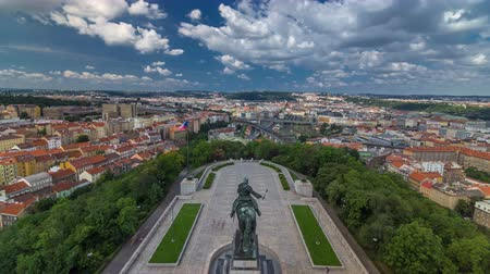heroes square : Panoramic view of Prague timelapse from the top of the Vitkov Memorial, Czech Republic