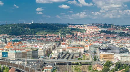 cseh : Panoramic view of Prague timelapse from the top of the Vitkov Memorial, Czech Republic