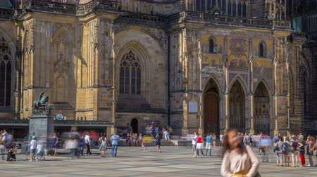 hradcany : St. Vitus Cathedral court timelapse in Prague surrounded by tourists.