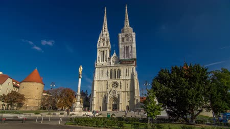 capitol : Zagreb Cathedral timelapse hyperlapse and Monument called Marias pillar. ZAGREB, CROATIA