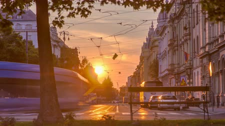road sign : Street with sunset in the Croatian capital Zagreb.