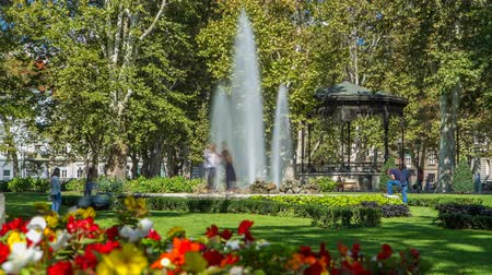 coldness : Fountains in Zrinjevac timelapse, one of the oldest parks in city. ZAGREB, CROATIA