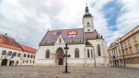 romanesk : Church of St. Mark timelapse hyperlapse and parliament building Zagreb, Croatia.