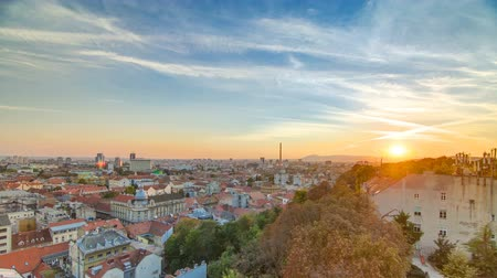балканский : Aerial view at Zagreb downtown timelapse, sunset time, Croatia capital city.