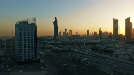 keskeny kilátás : Kuwait skyline at sunset. Some famous places in Kuwait shooting from the sky