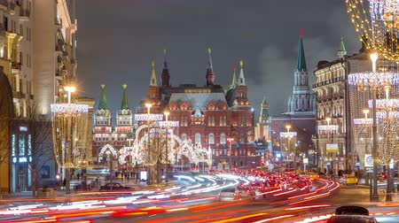 şarap kadehi : Tverskaya Street timelapse with Wineglass-shaped Street Lamps in Winter Season at frosty night. Moscow, Russia Stok Video