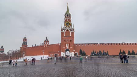 chime : View of The Saviour Spasskaya Tower timelapse hyperlapse and Kremlin walls of Moscow Kremlin, Russia at day in winter. Stock Footage