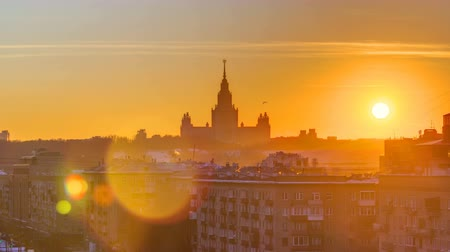 stalin : Sunset Moscow State University in winter timelapse