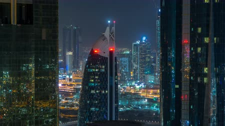 vanishing point : Skyscrapers of dubai during night hours timelapse