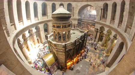 sepulcher : The Holy Sepulchre Church inside from top in Jerusalem timelapse.