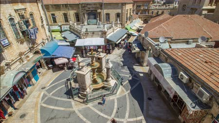 antenas : View of the old town timelapse. Jerusalem, Israel. Old city of Jerusalem from top.