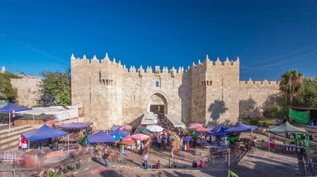 street market : The Damascus Gate timelapse hyperlapse is one of the most crowded city exits in Jerusalem.