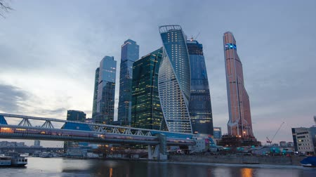komplexní : Skyscrapers International Business Center City day to night timelapse hyperlapse, Moscow, Russia